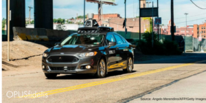 Uber self-driving car drives in Pittsburgh