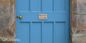 blue door with private sign